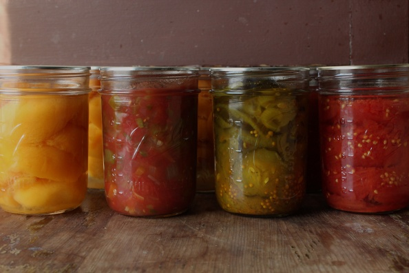 2011 goodies: peaches, salsa, pickles, & tomatoes