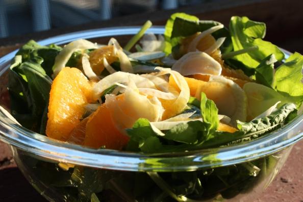 Arugula, orange, and fennel salad
