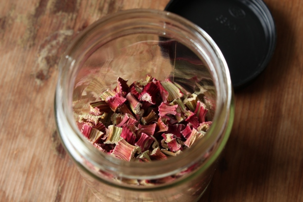 Jar of dried rhubarb pieces