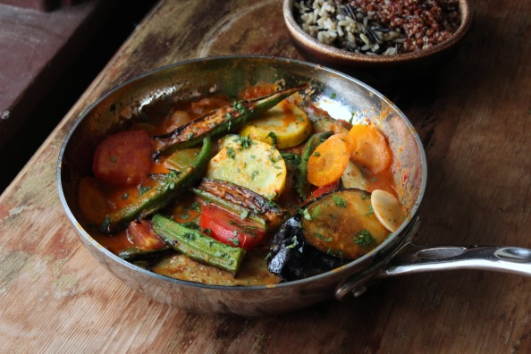 Coconut red curry summer vegetables