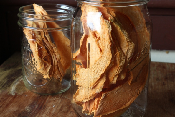 Dried cantaloupe slices in jars