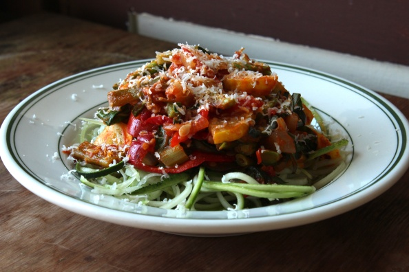 "Zucchini ""noodles"" with sauted summer veggies and tomato sauce"