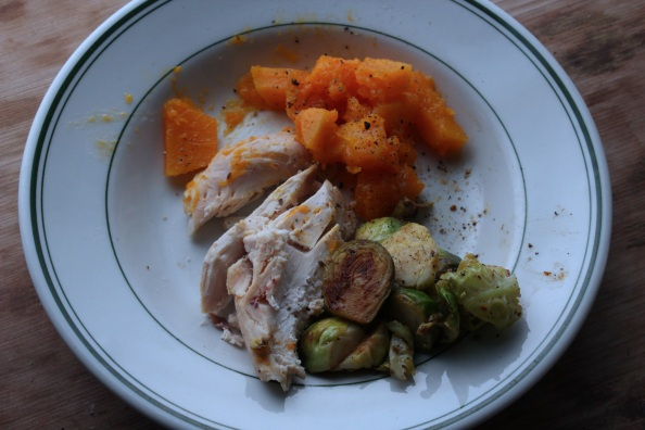 Roasted chicken with butternut squash and Brussles sprouts