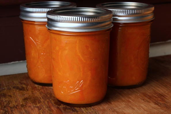 Jars of mandarin orange marmalade