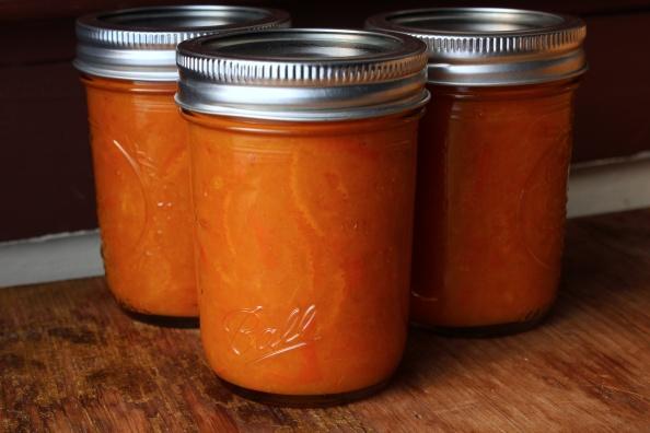 Jars of mandarin orange marmalade