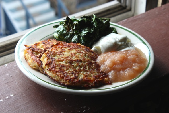 Black radish and potato pancakes